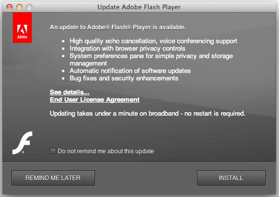 Adobe Flash Player for Mac OS X screenshot